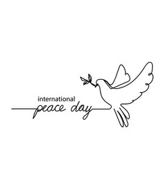 international peace daycontinuous line drawing vector image