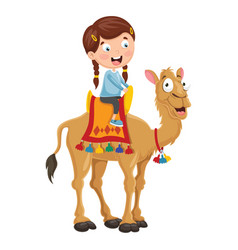 Kid riding camel vector