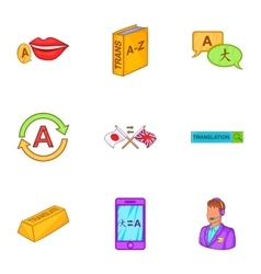 Language learning icons set cartoon style vector