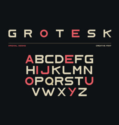 latin alphabet sans serif font in grotesk style vector image