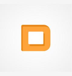 Letter d bold geometric font element modern vector