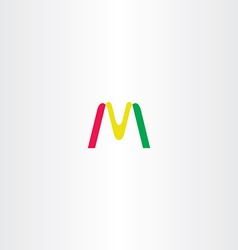 letter m yellow red green logo icon sign vector image