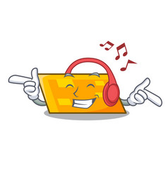 listening music parallelogram mascot cartoon style vector image