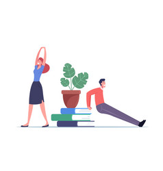 Male and female doing workout at work place vector