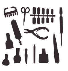 manicure instruments hygiene hand care black vector image