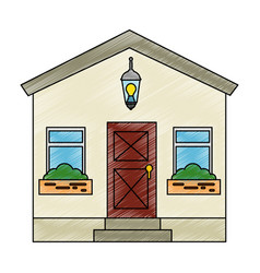 Mansion front isolated icon vector