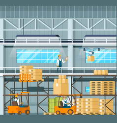 Manufacturing modern warehouse technology process vector
