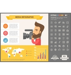 Media flat design Infographic Template vector image