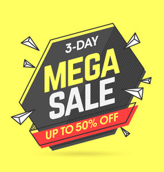 mega sale banner template in flat trendy memphis vector image