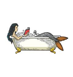 mermaid reading book bath color sketch engraving vector image