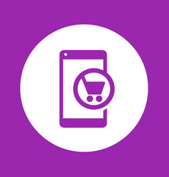 mobile shopping smartphone with cart icon vector image vector image