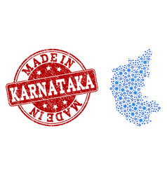 Mosaic map of karnataka state with mechanics vector