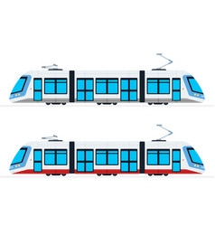 Municipal electric tram flat isolated vector