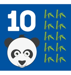 Number 10 - Panda bear with ten bamboo shoots vector