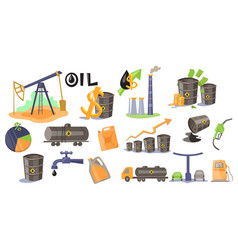 oil industry set extraction refinery production vector image