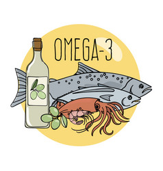 Omega 3 healthy food low carb fresh vector