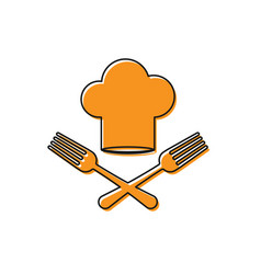 Orange chef hat and crossed fork icon isolated on vector
