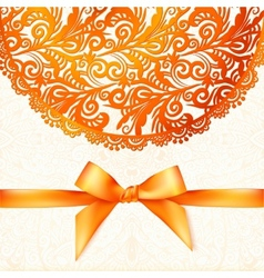 Ornate orange greeting card template vector image