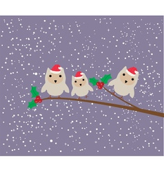 Owl family card winter vector