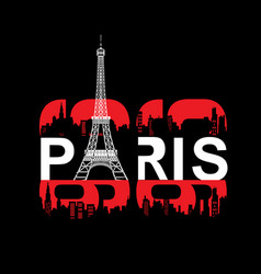 paris eifel tower typography t shirt design vector image