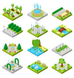 Park landscape of parkland with green vector