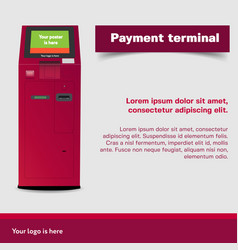 payment terminal atm poi advertising stand vector image