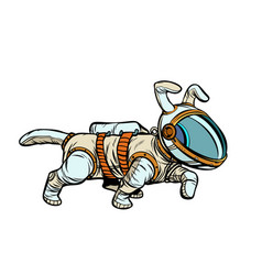 Pet dog astronaut vector