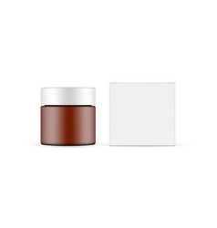 plastic frosted amber cosmetic jar with paper box vector image