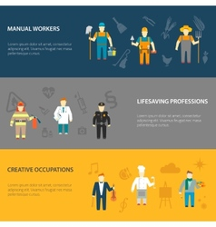 Profession characters horizontal banners flat vector image
