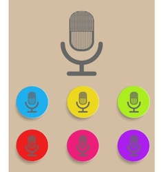 retro microphone icon with color variations vector image