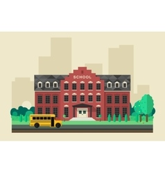 School building with yellow bus vector
