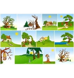 Set of natural backgrounds vector