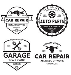 Set of vintage monochrome car repair service vector
