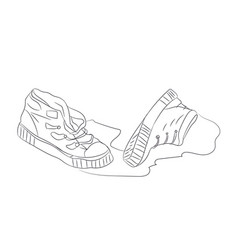 shoes lines vector image