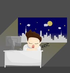 sleep night work time salary man cartoon lifestyle vector image