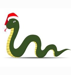 Snake in sants claus cap vector