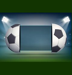 Soccer scoreboard with balls on stadium field vector