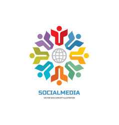social media world - logo sign template vector image
