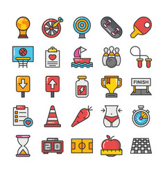 sports and games flat icons set 4 vector image