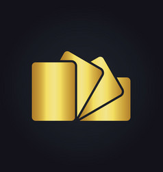 square gold paper logo vector image