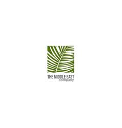 square palm leaf logo design vector image