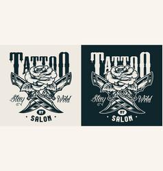 Vintage tattoo studio monochrome print vector