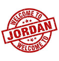 Welcome to jordan red stamp vector