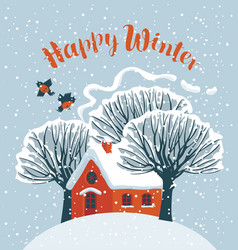 winter landscape with snow-covered house and trees vector image