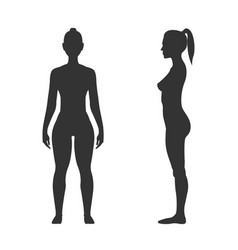 Woman black silhouette front and side view vector