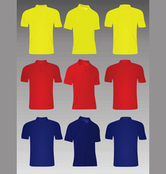 yellow red and blue polo t shirt vector image
