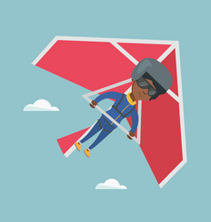 Young african-american woman flying on hang-glider vector