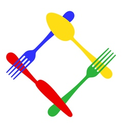 colorful cutlery frame vector image vector image