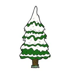 comic cartoon snowy tree vector image vector image