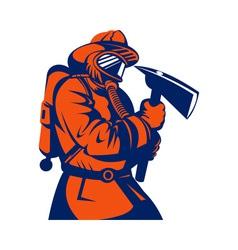Fireman fire fighter holding an ax vector